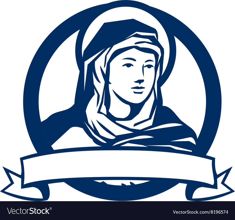 Blessed Virgin Mary Scroll Retro vector image