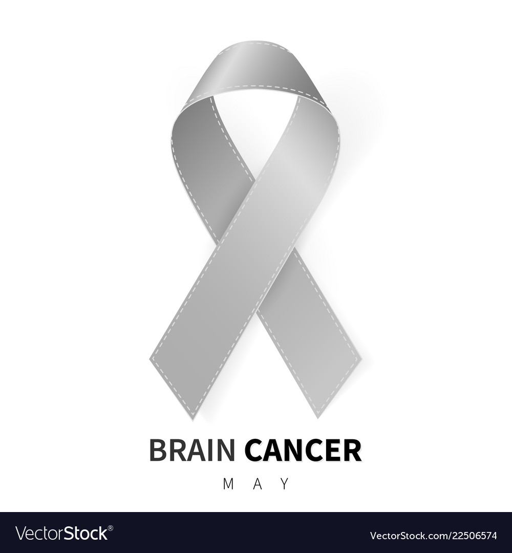 Brain cancer awareness month realistic grey