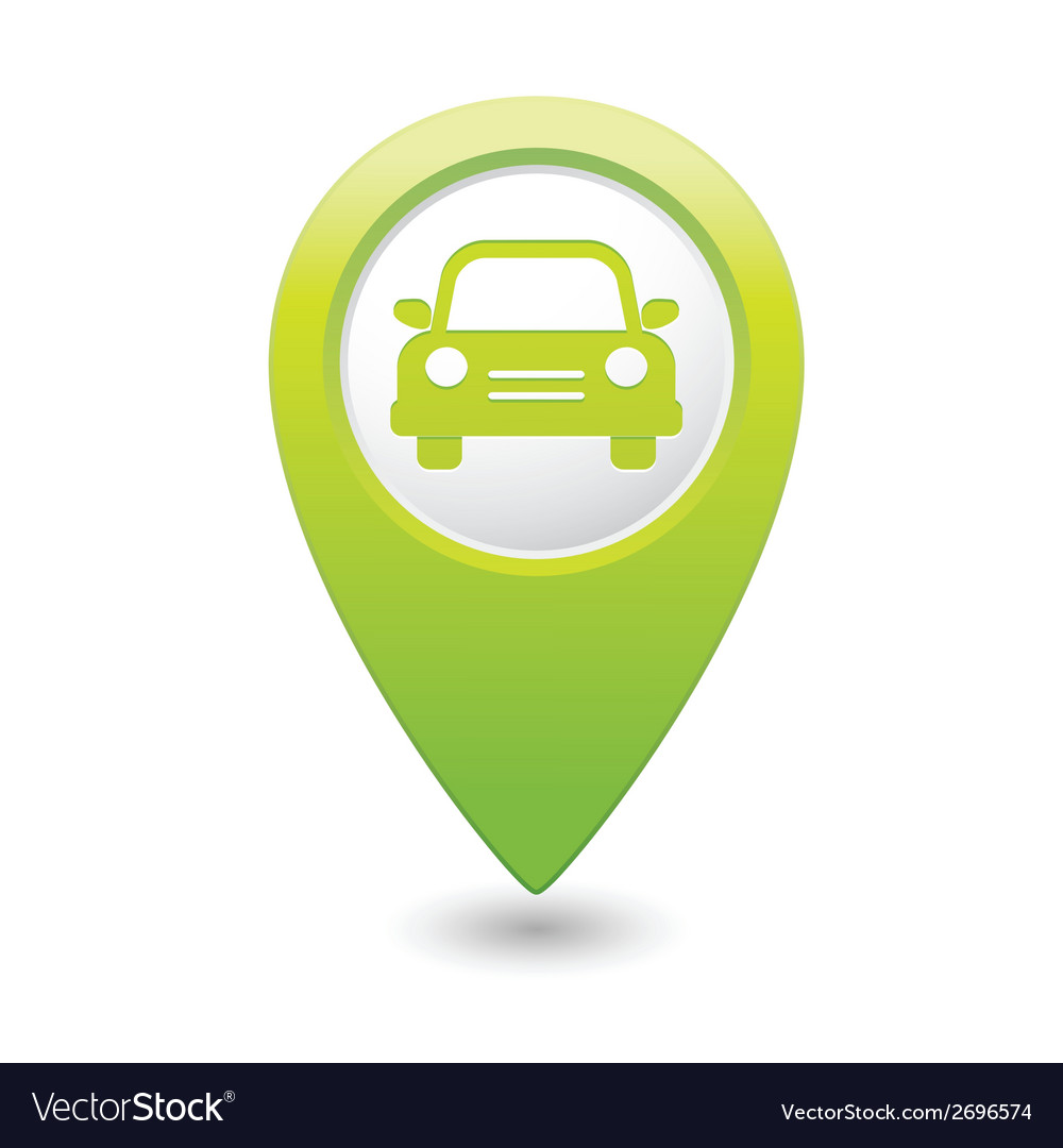 Car icon green map pointer
