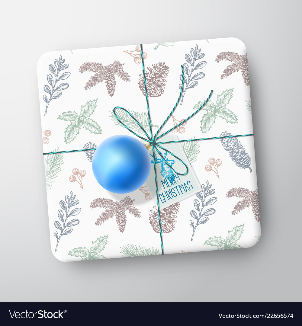 Christmas gift box card abstract wrapped