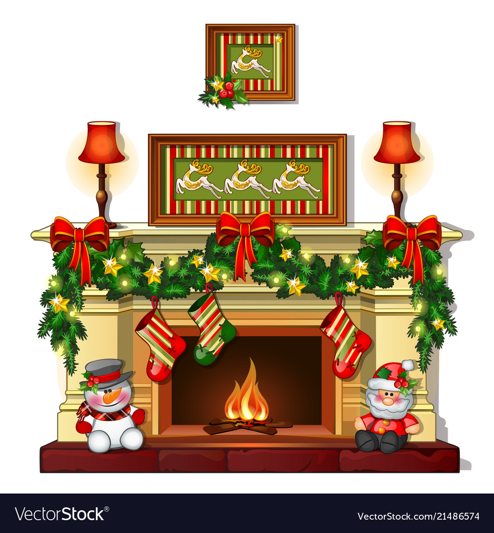 Christmas Fire Place Images.Christmas Sketch With The Fireplace With Christmas