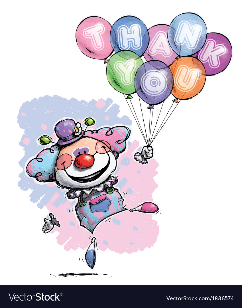 Clown with Balloons Saying Thank You Baby Colors