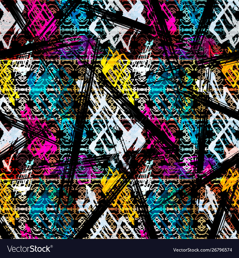 Colored abstract seamless pattern in graffiti