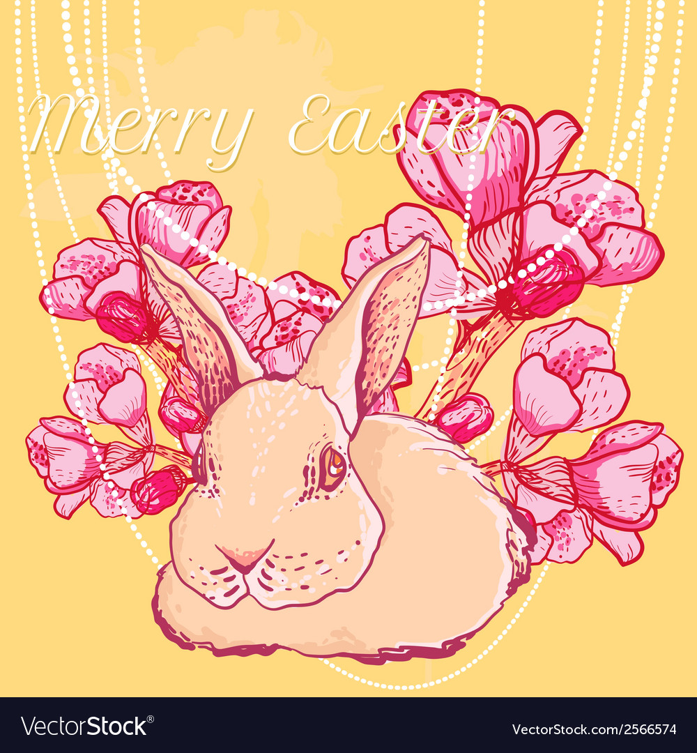 Easter rabbit with spring cherry branch