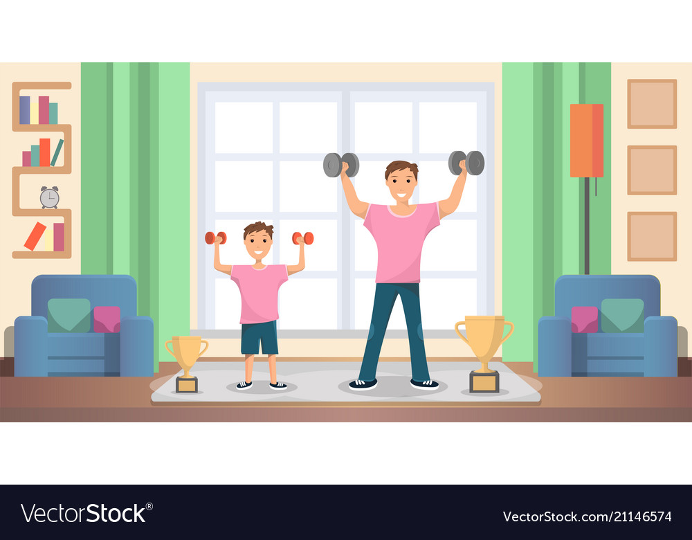 Father with son doing exercises at home