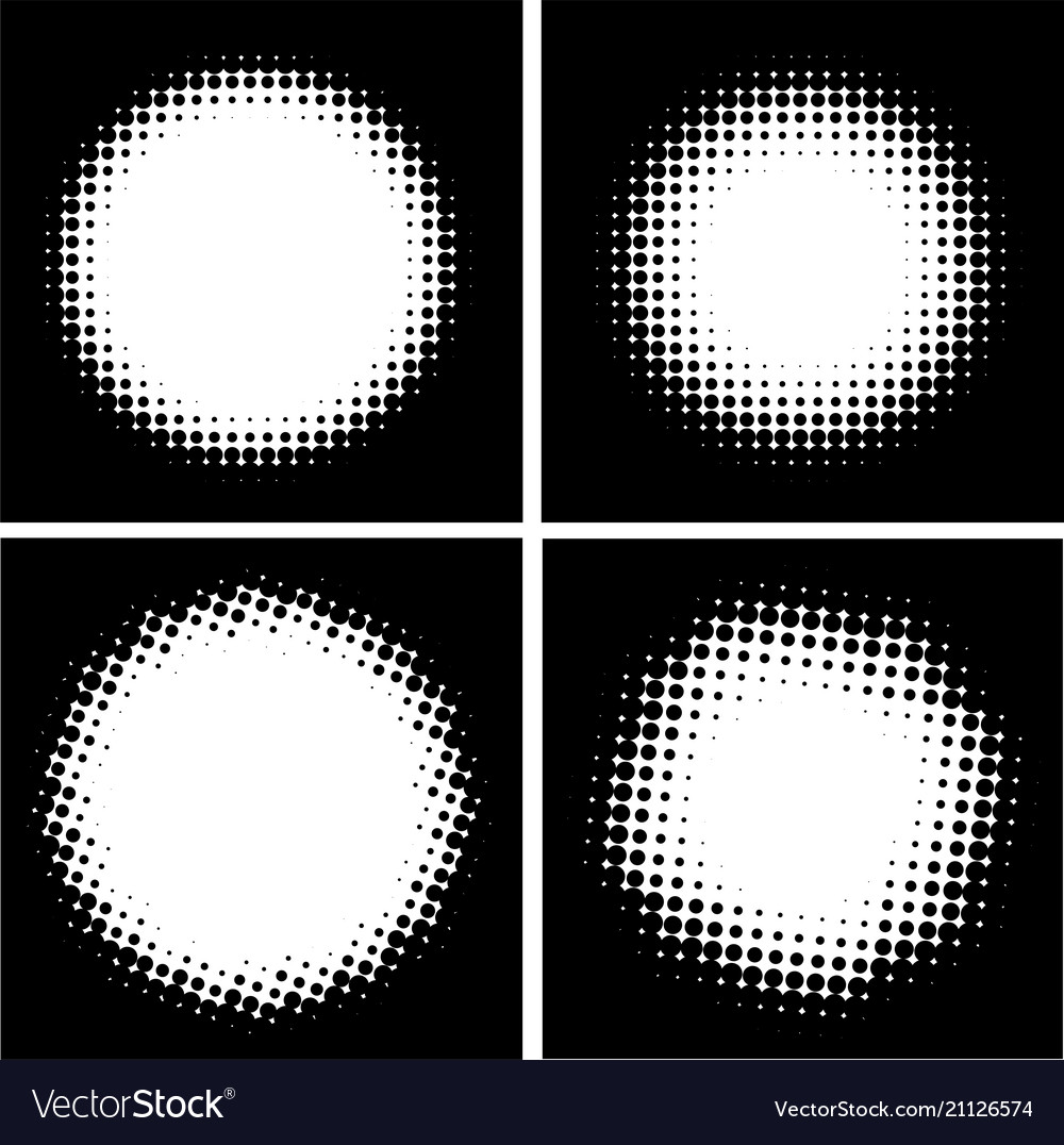 Four black and white abstract dotted backgrounds vector image