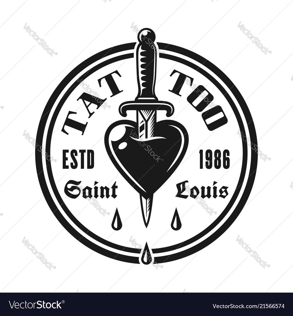 Heart pierced knife tattoo studio emblem
