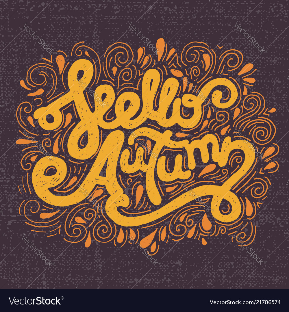 Hello autumn handwritten lettering