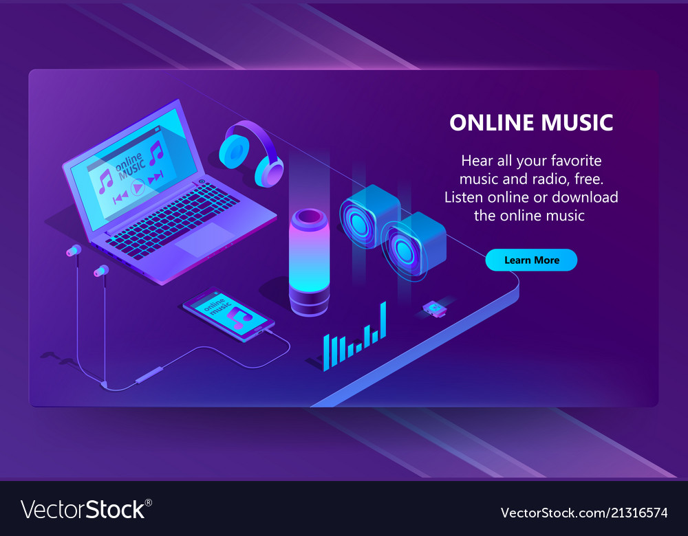 Online music isometric concept background