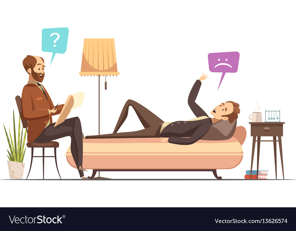 Psychotherapy Session Retro Cartoon Royalty Free Vector