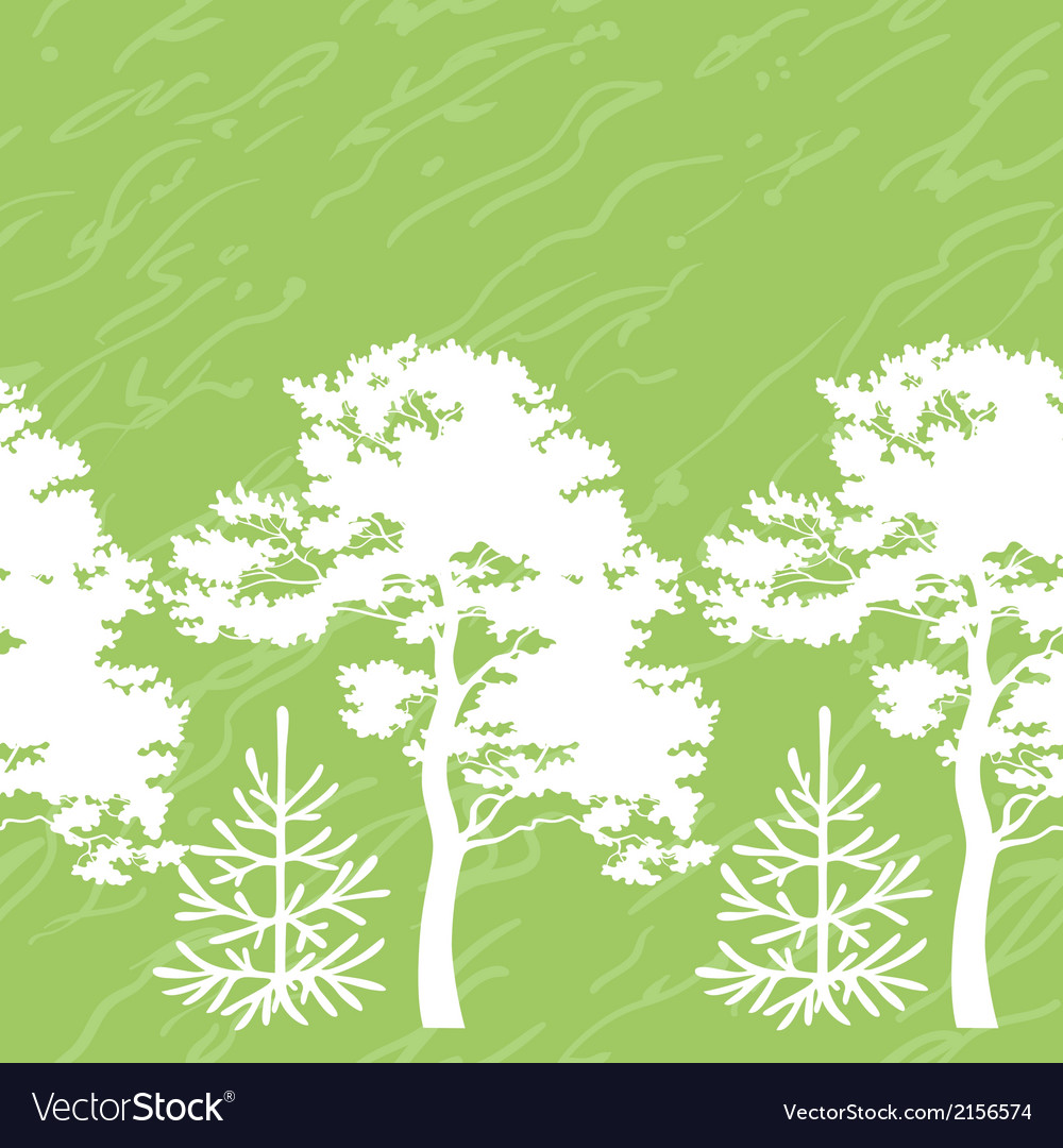 Seamless trees silhouettes and abstract pattern vector image