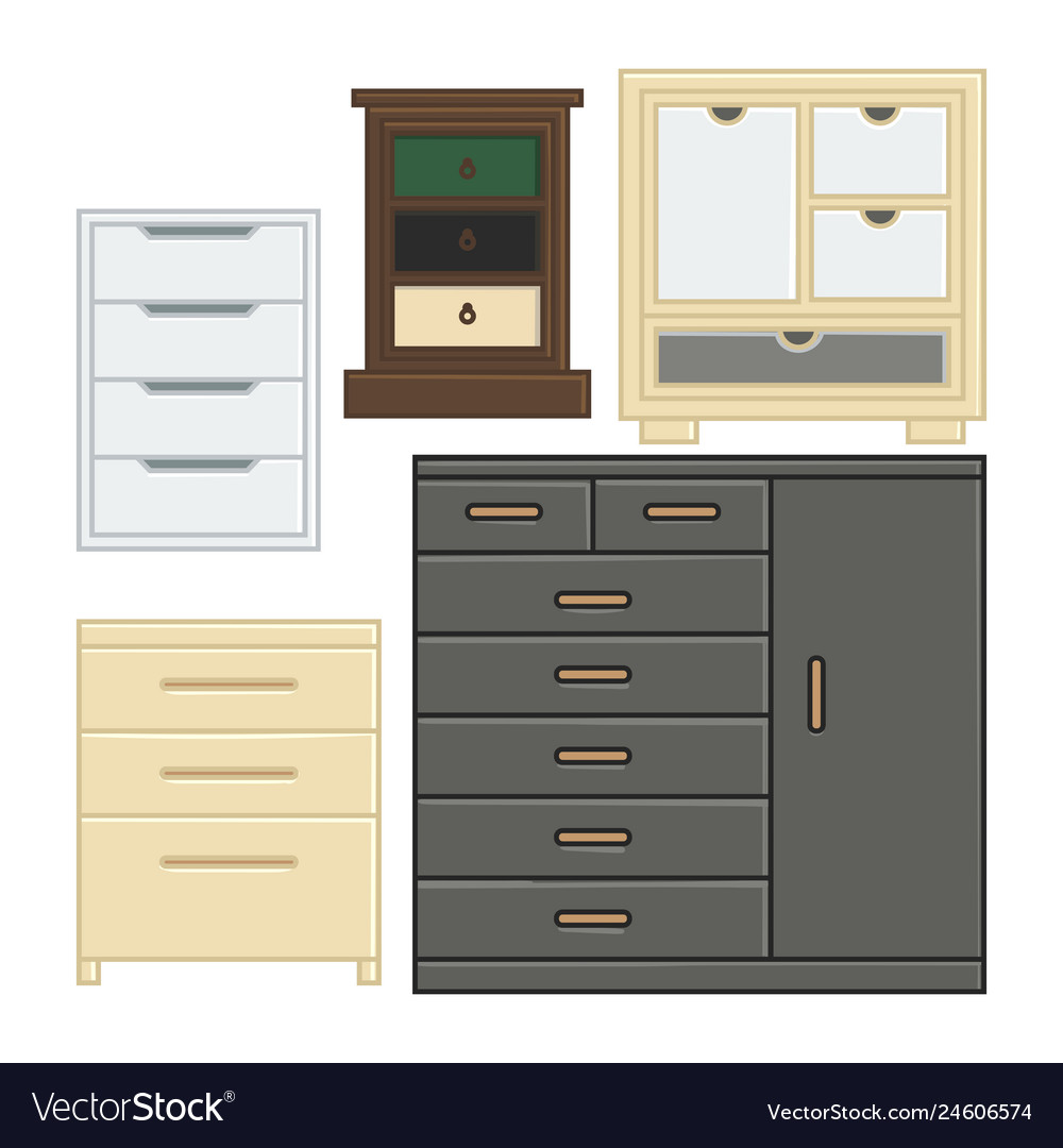 Set of drawer and cabinet for interior household