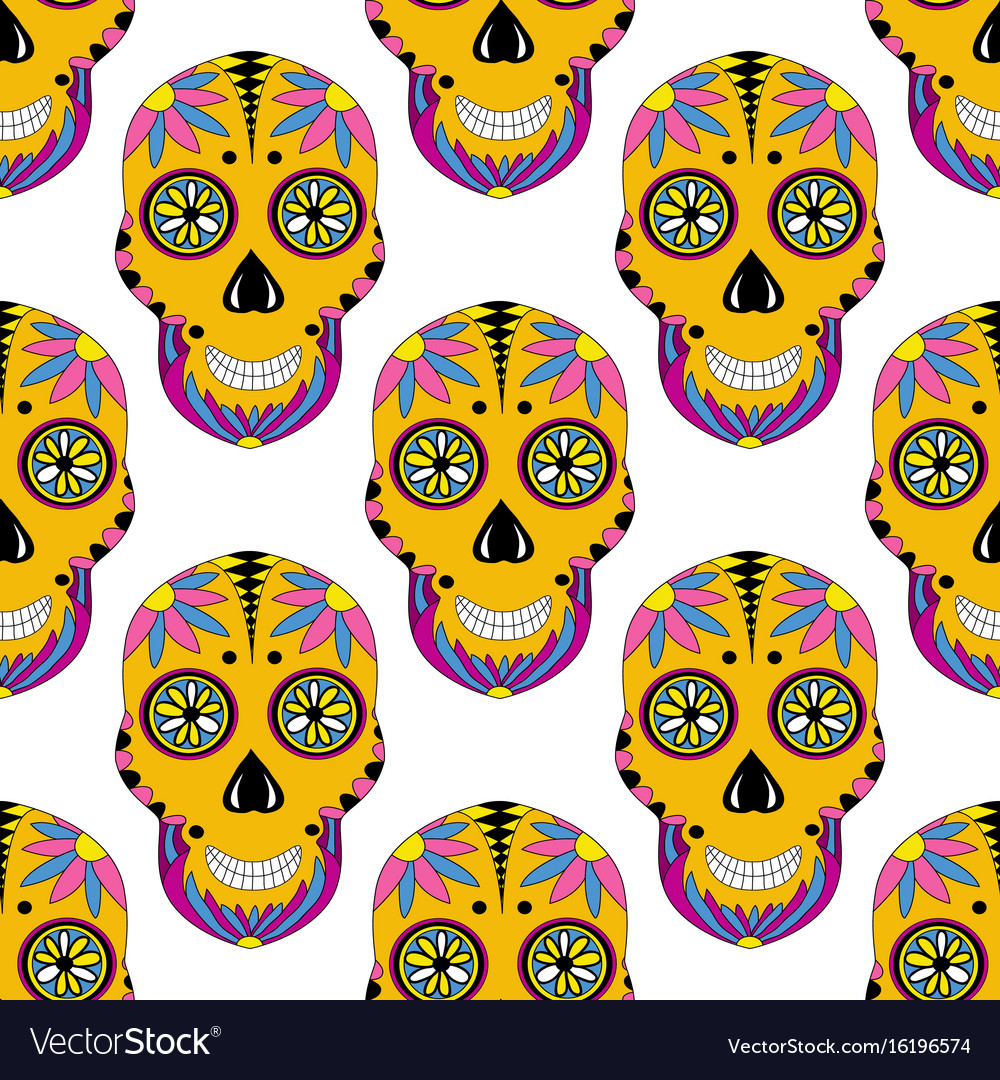 Sugar skull pattern with floral ornament mexican