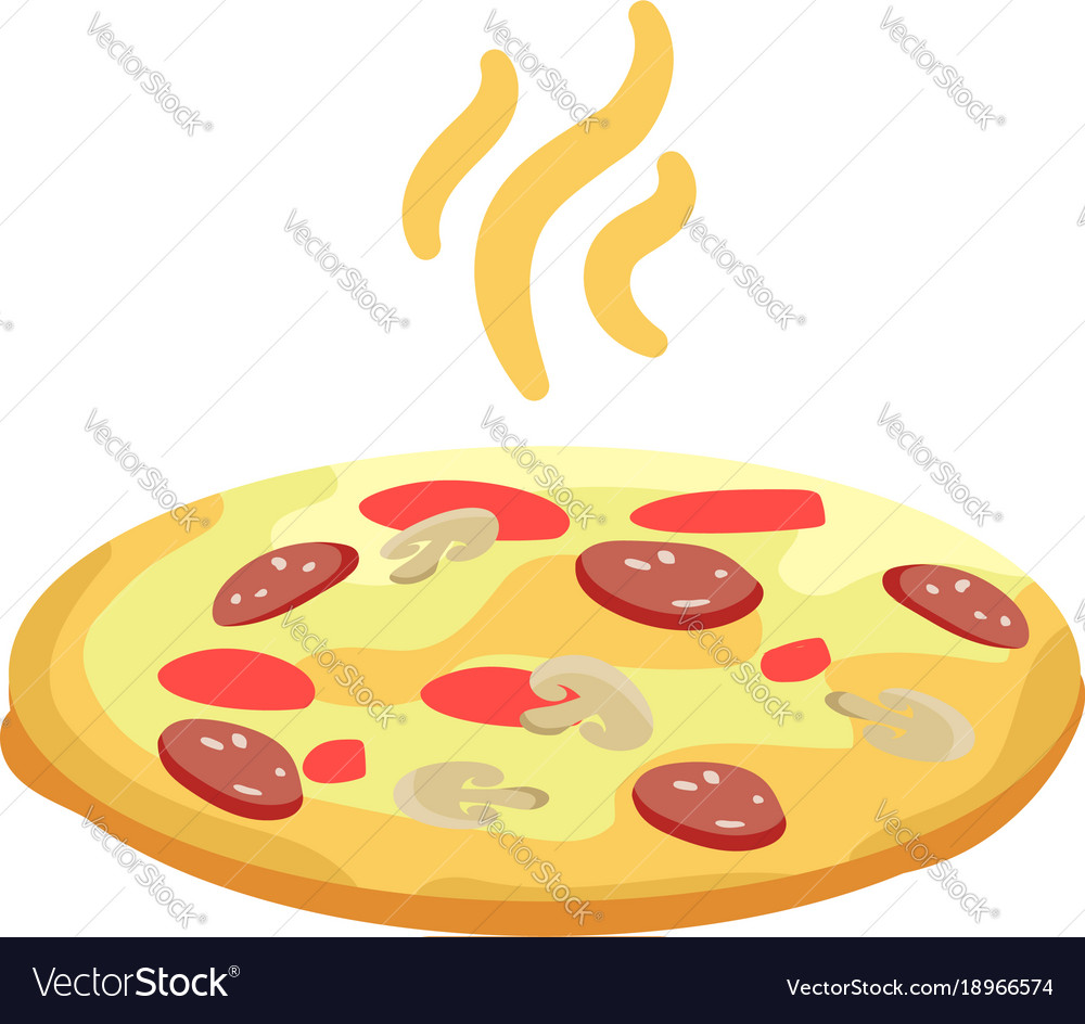 Tasty pizza with sausage mushrooms and ketchup vector image