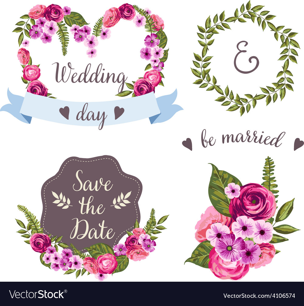 Wedding collection with hand-drawn flowers