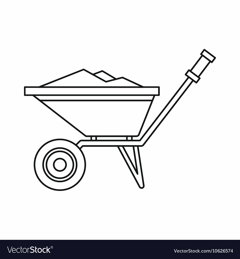 Wheelbarrow icon in outline style