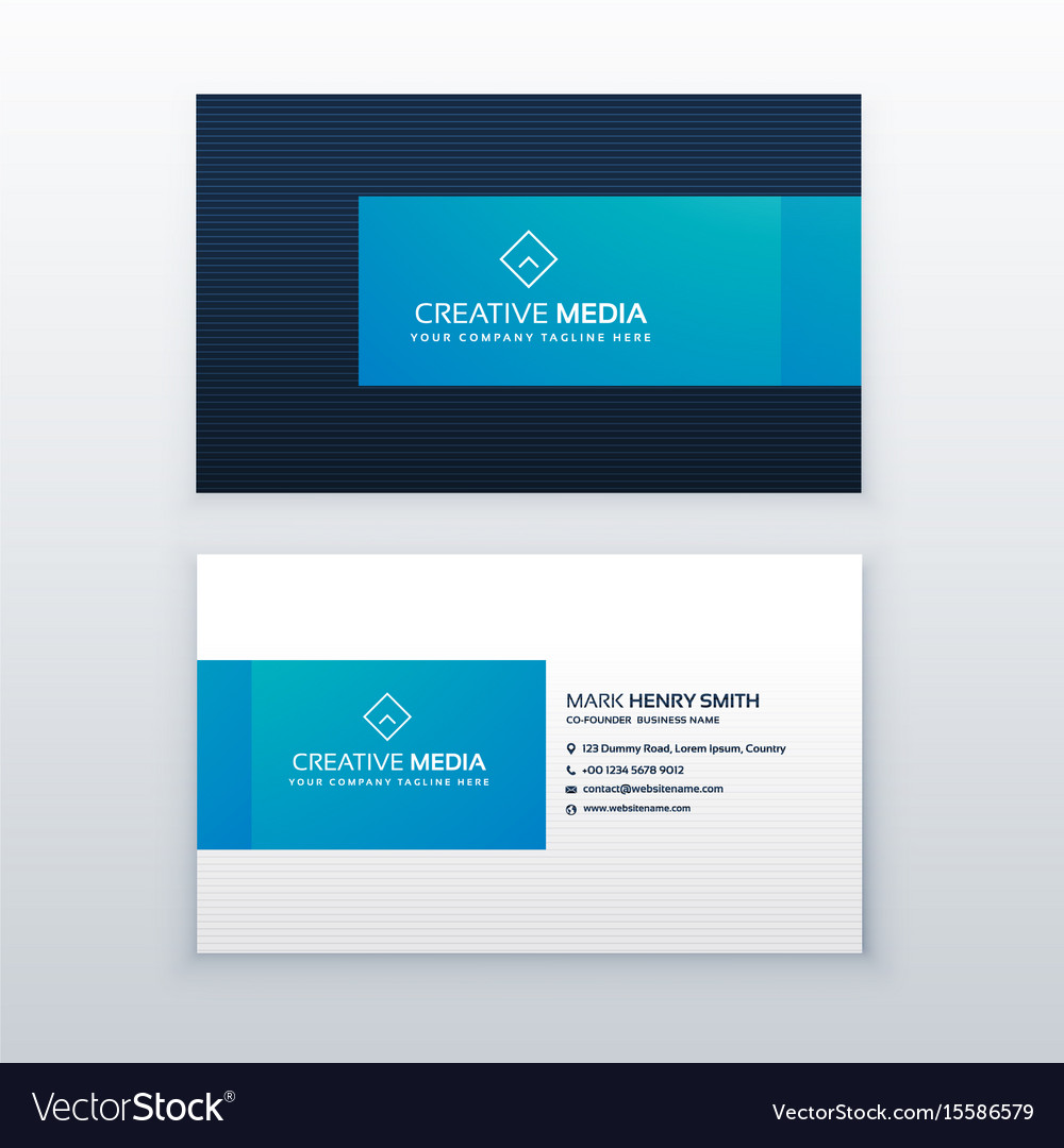 Blue elegant business card design template vector image maxwellsz
