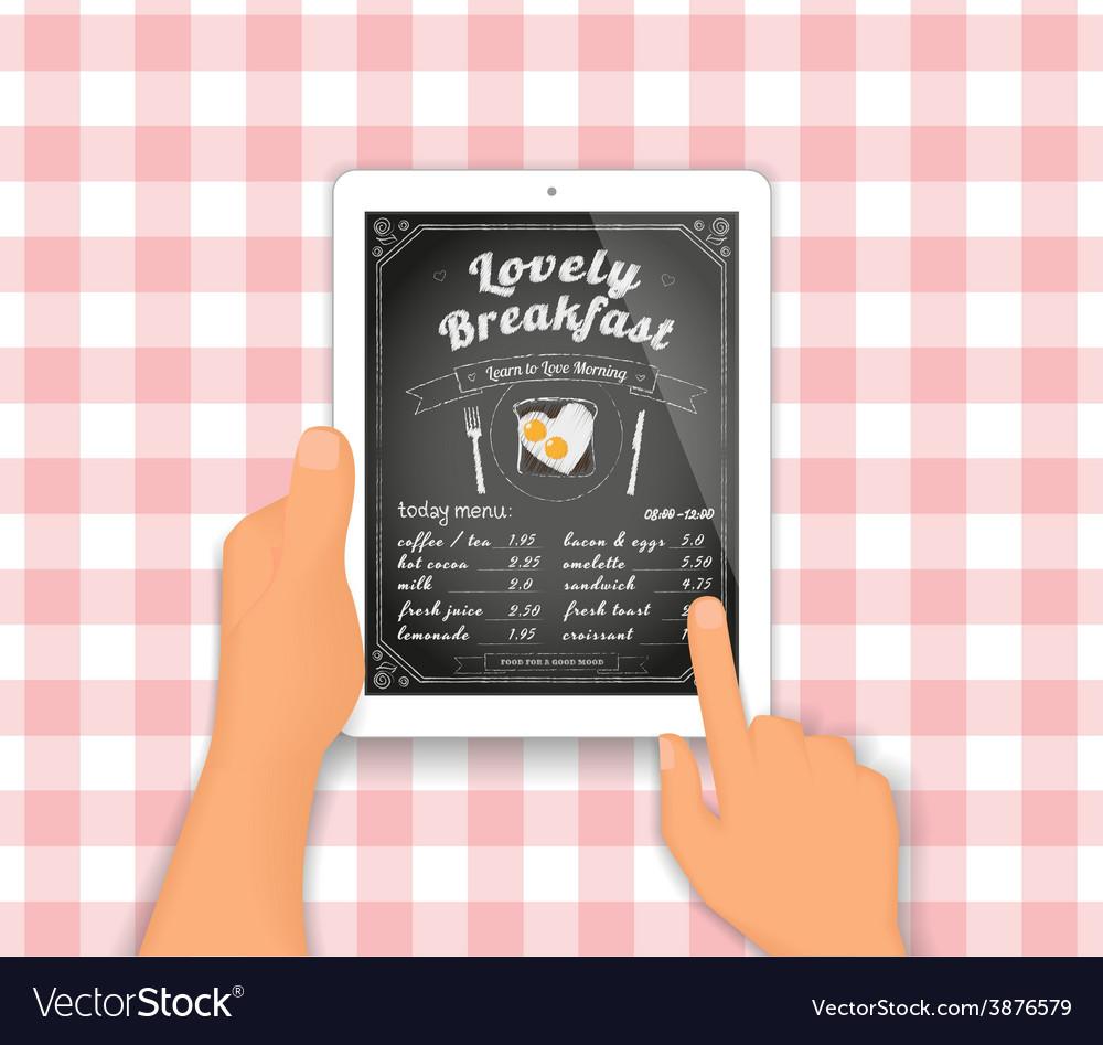 Breakfast menu on the tablet pc vector image