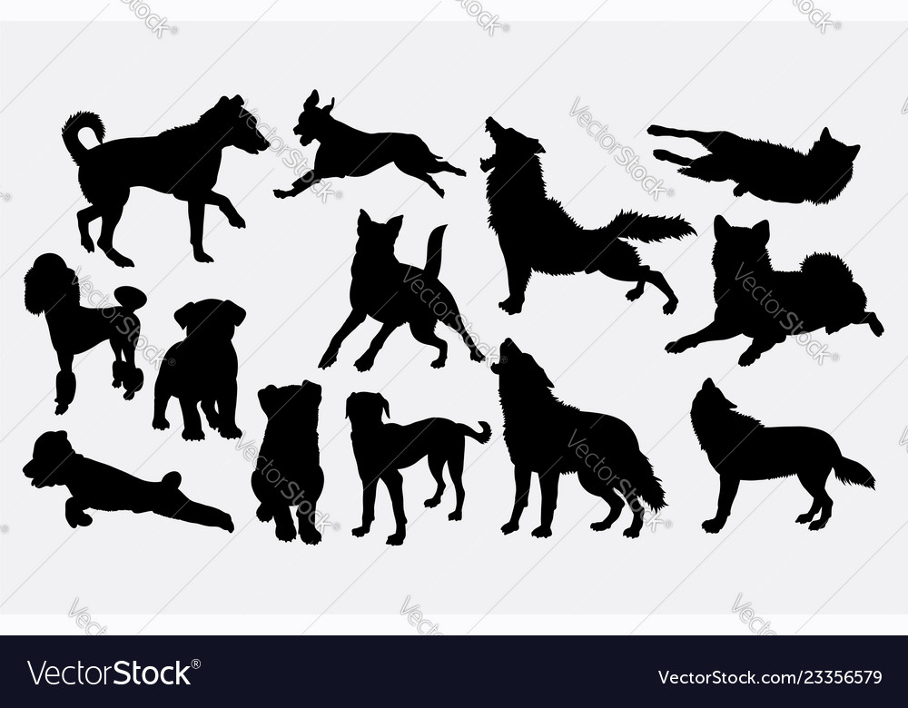 Dog and wolf animal silhouette