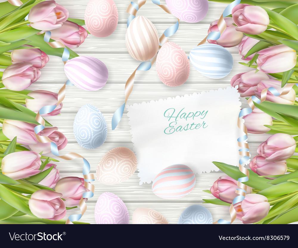 Easter eggs on wooden background EPS 10