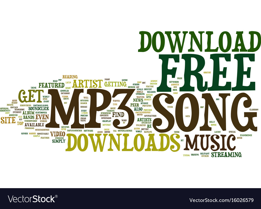 Free Mp Song Download Text Background Word Cloud Vector Image