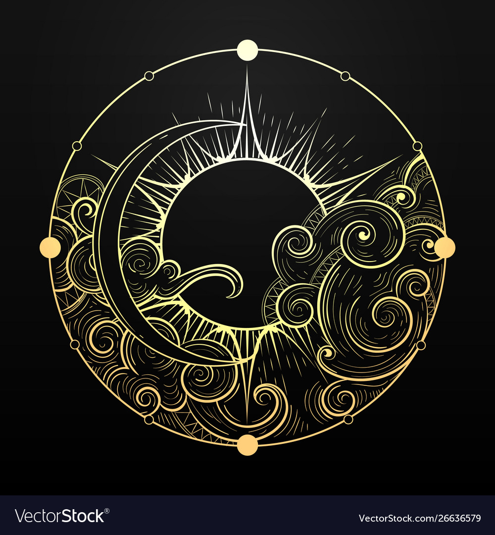 Hand drawn golden sun and moon with cloud