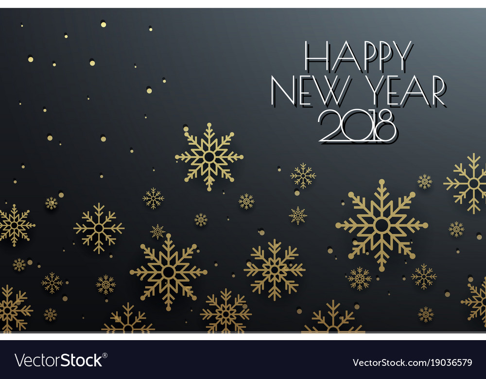 happy new year 2018 background with snowflake vector image