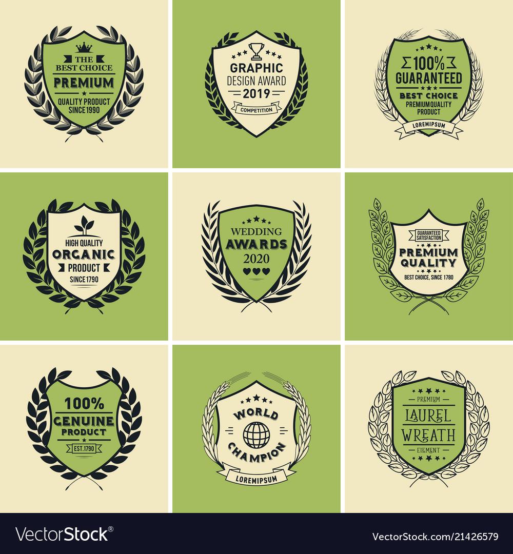 Laurel Wreath Badges Templates Royalty Free Vector Image