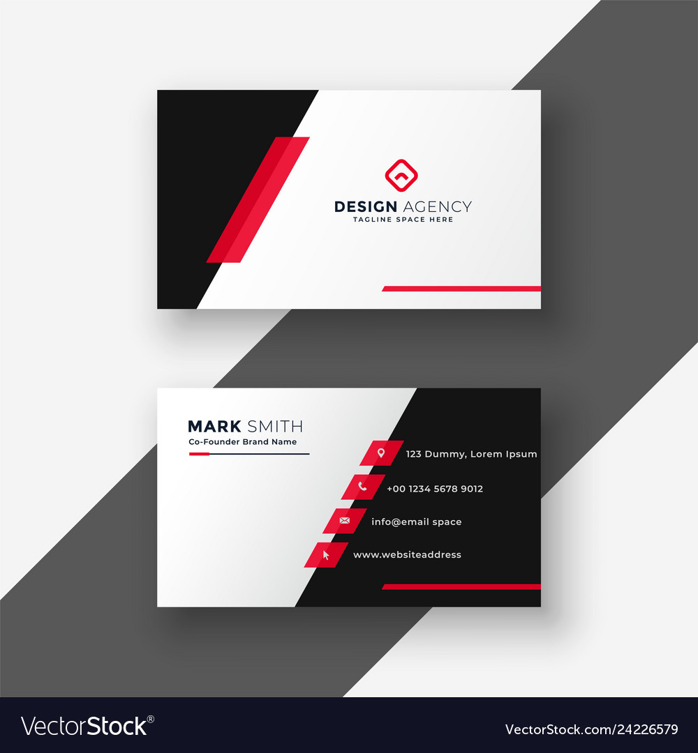Modern red business card template Royalty Free Vector Image Within Free Complimentary Card Templates