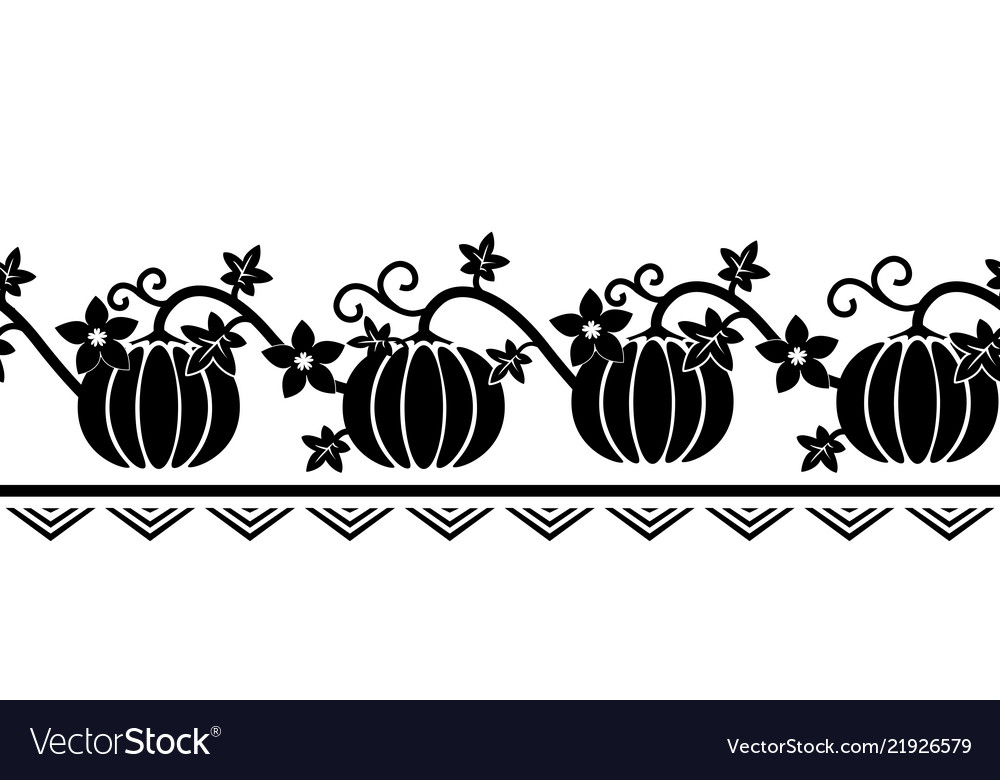 Seamless border pattern with pumpkin ornament