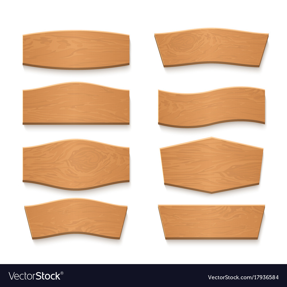 Cartoon wooden brown plate empty banners