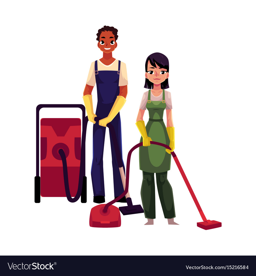 Cleaning service workers man woman in overalls
