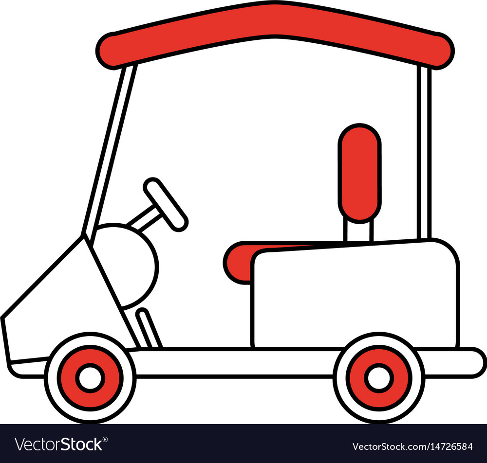 Color Silhouette Cartoon Golf Cart Vehicle Vector Image
