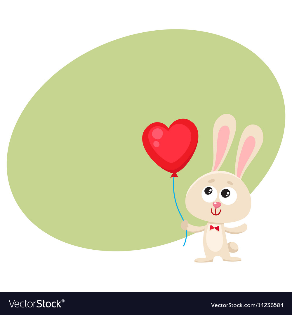 Cute and funny rabbit bunny holding red heart