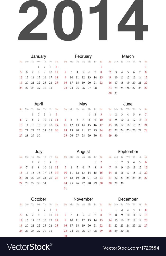 European 2014 calendar