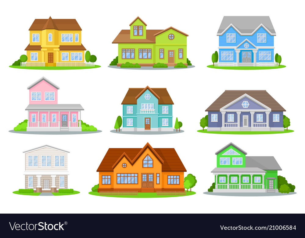 Flat set of colorful houses with green