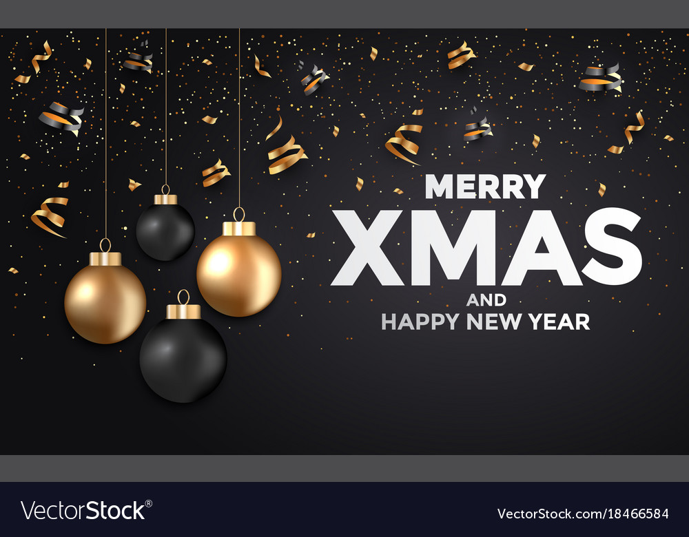 holiday new year card 2018 black and gold 2 vector image