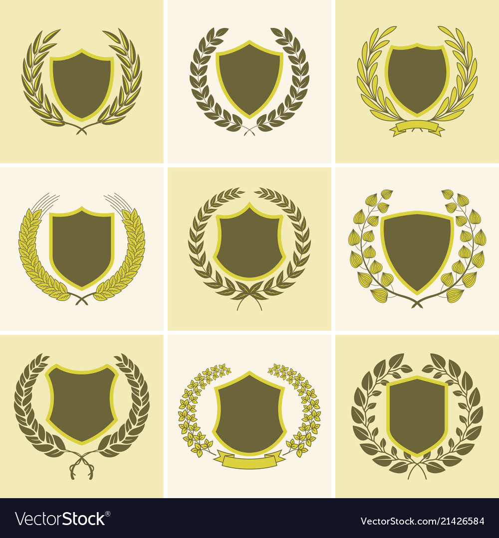 Laurel Wreath Badges Templates Royalty Free Vector Image