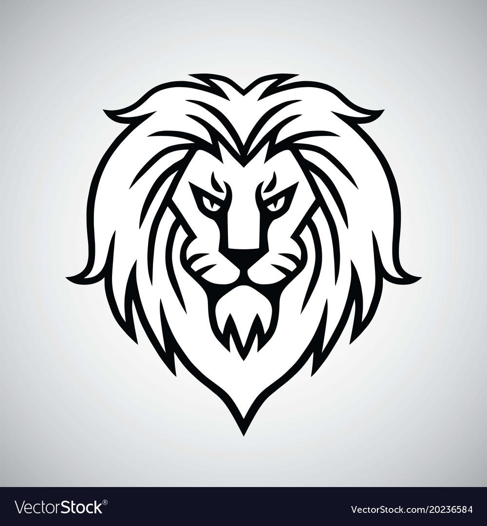 lion head logo template design royalty free vector image