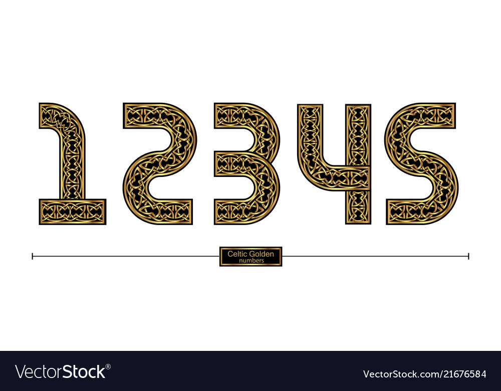 Number celtic golden style in a set 12345