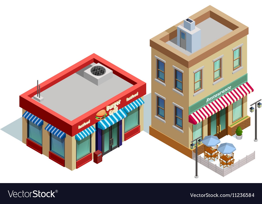 Restaurant Buildings Composition vector image
