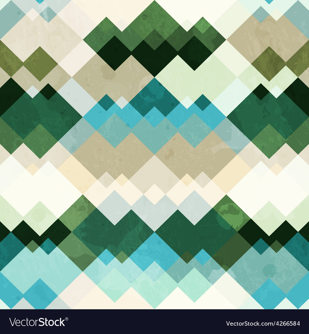 Retro zigzag seamless pattern with grunge effect