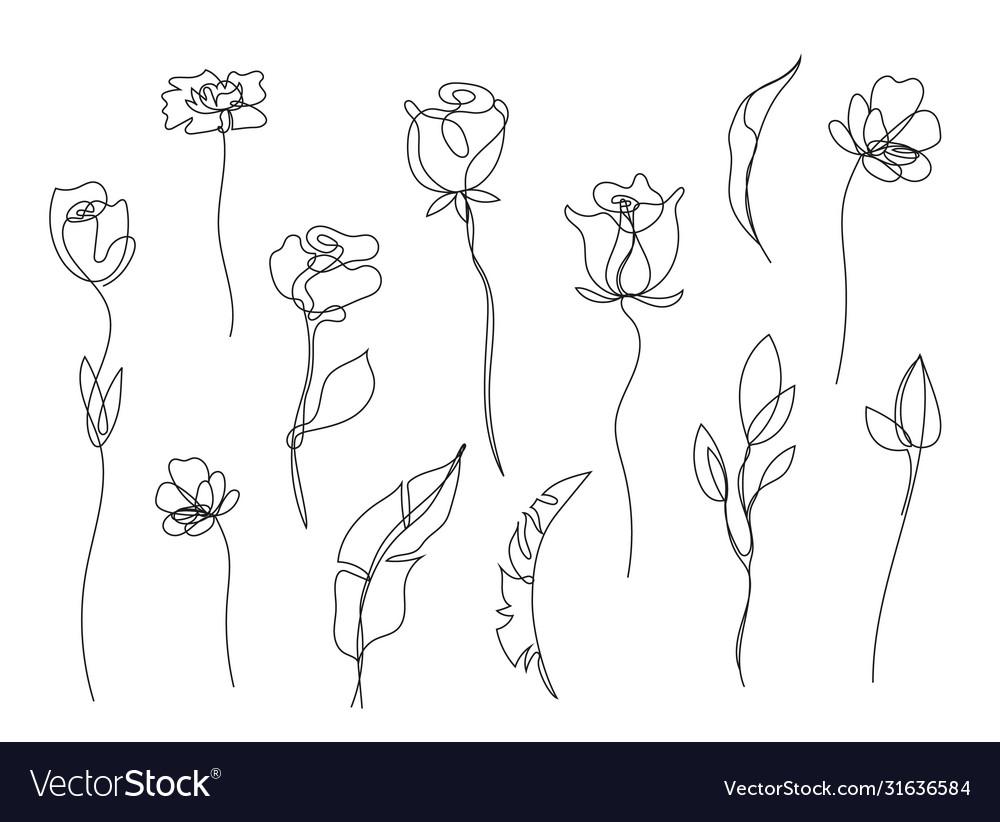 Set hand drawn single continuous line