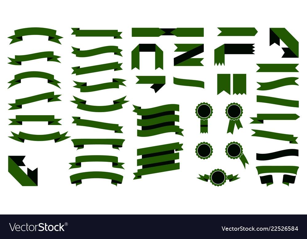 Set of beautiful colorful green ribbons