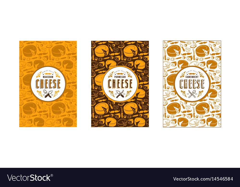Set of seamless pattern and labels for cheese
