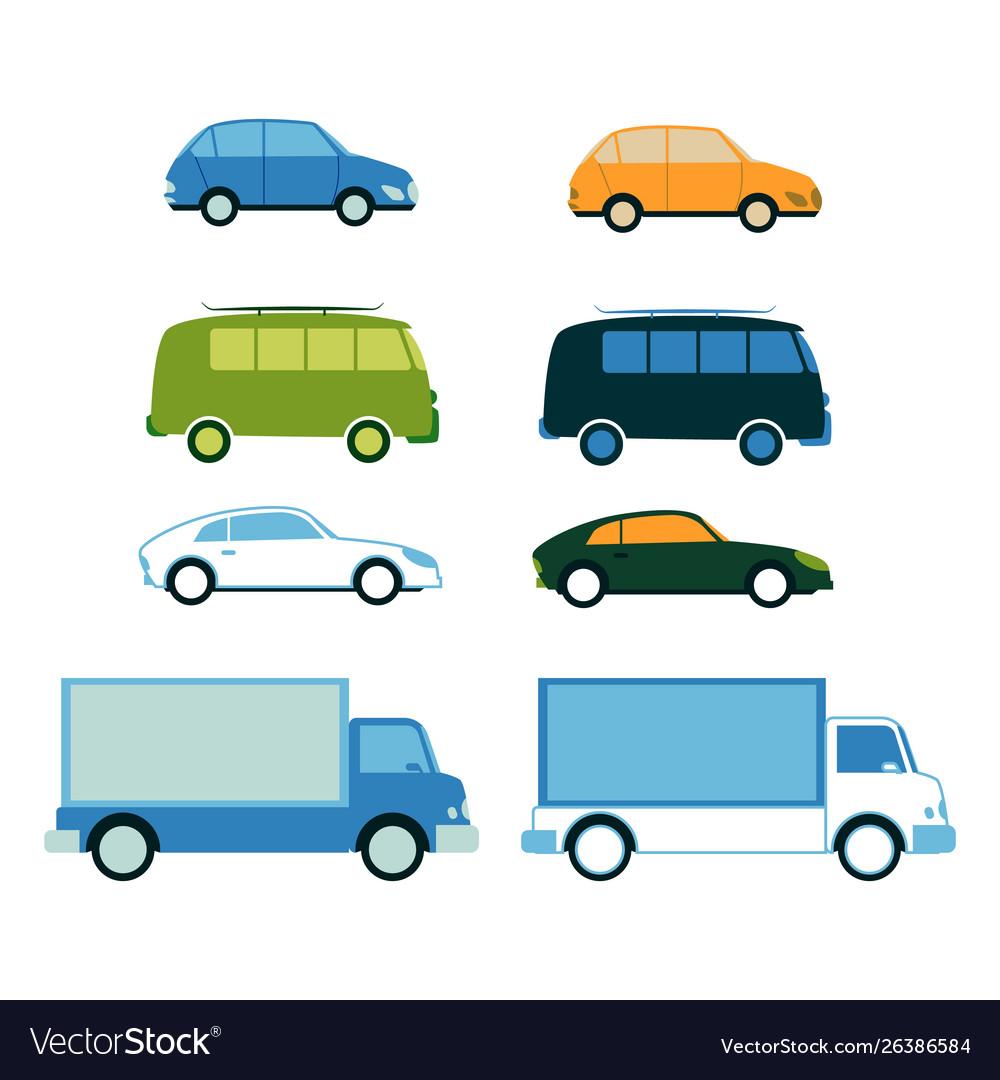 Sport car family van bus cargo truck set
