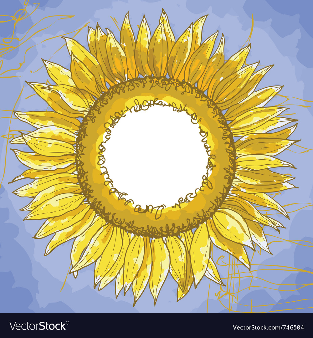 Square frame with sunflowers Royalty Free Vector Image
