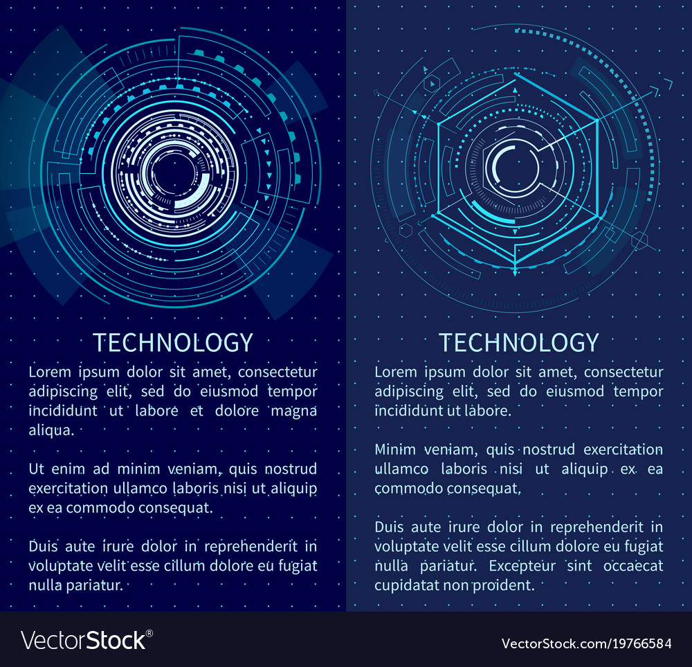 Technology poster with bright interface shapes