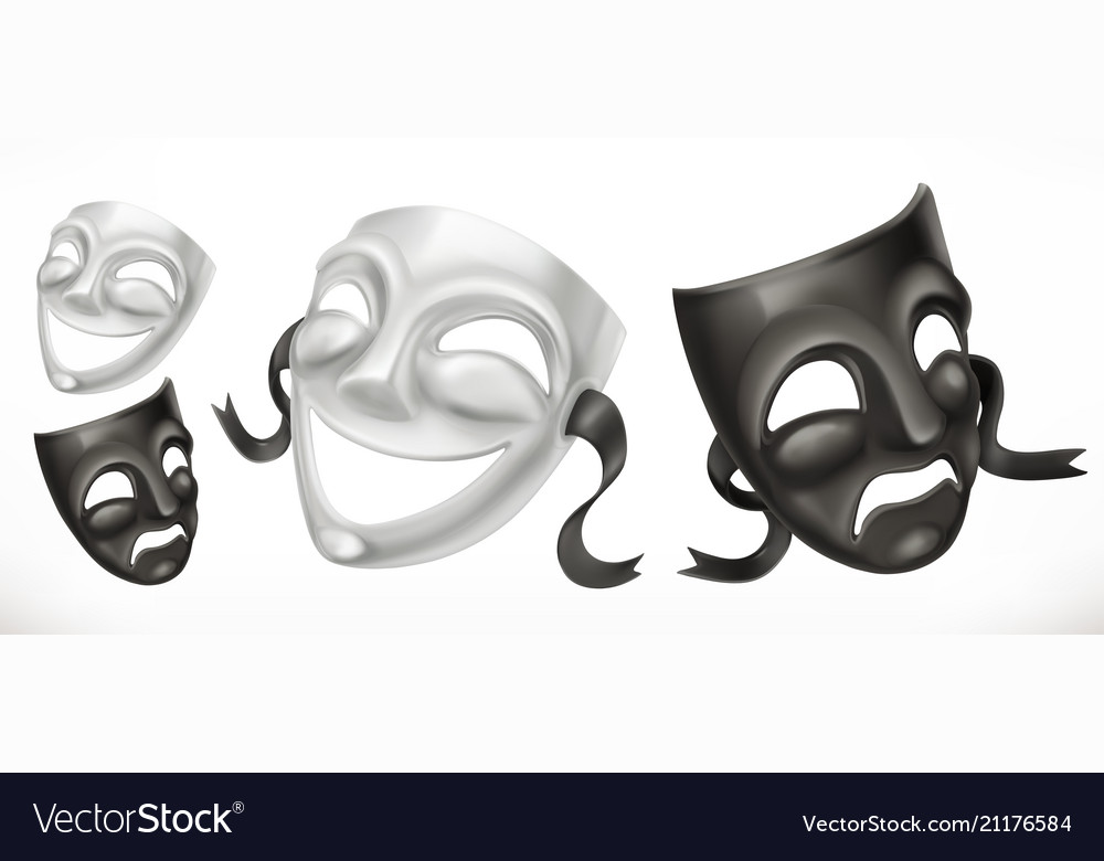 Theatrical masks comedy and tragedy 3d icon