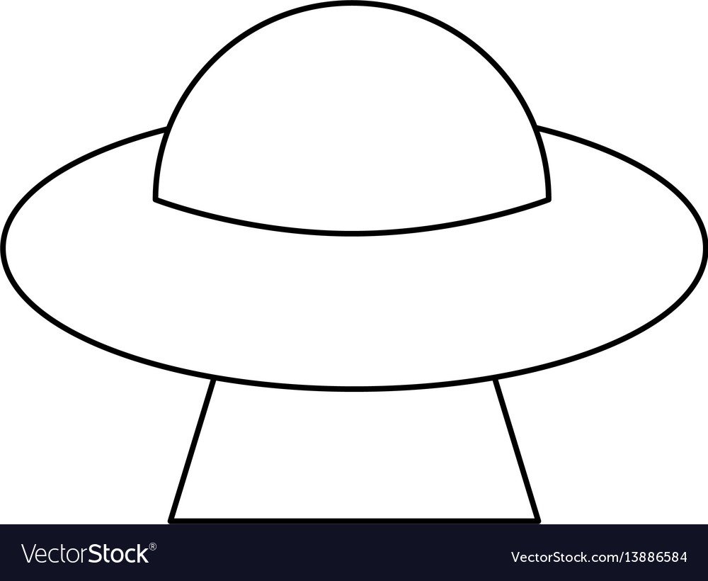 Ufo saucer space flying outline